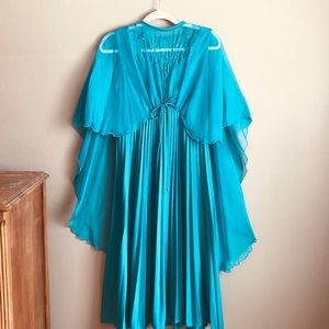 Vintage caped teal dress